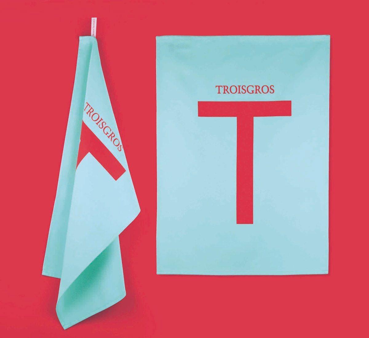 Torchons Troisgros, hôtel et restaurant étoilé, torchons rouge et turquoise au design franc et pur, identité visuelle Ich&Kar