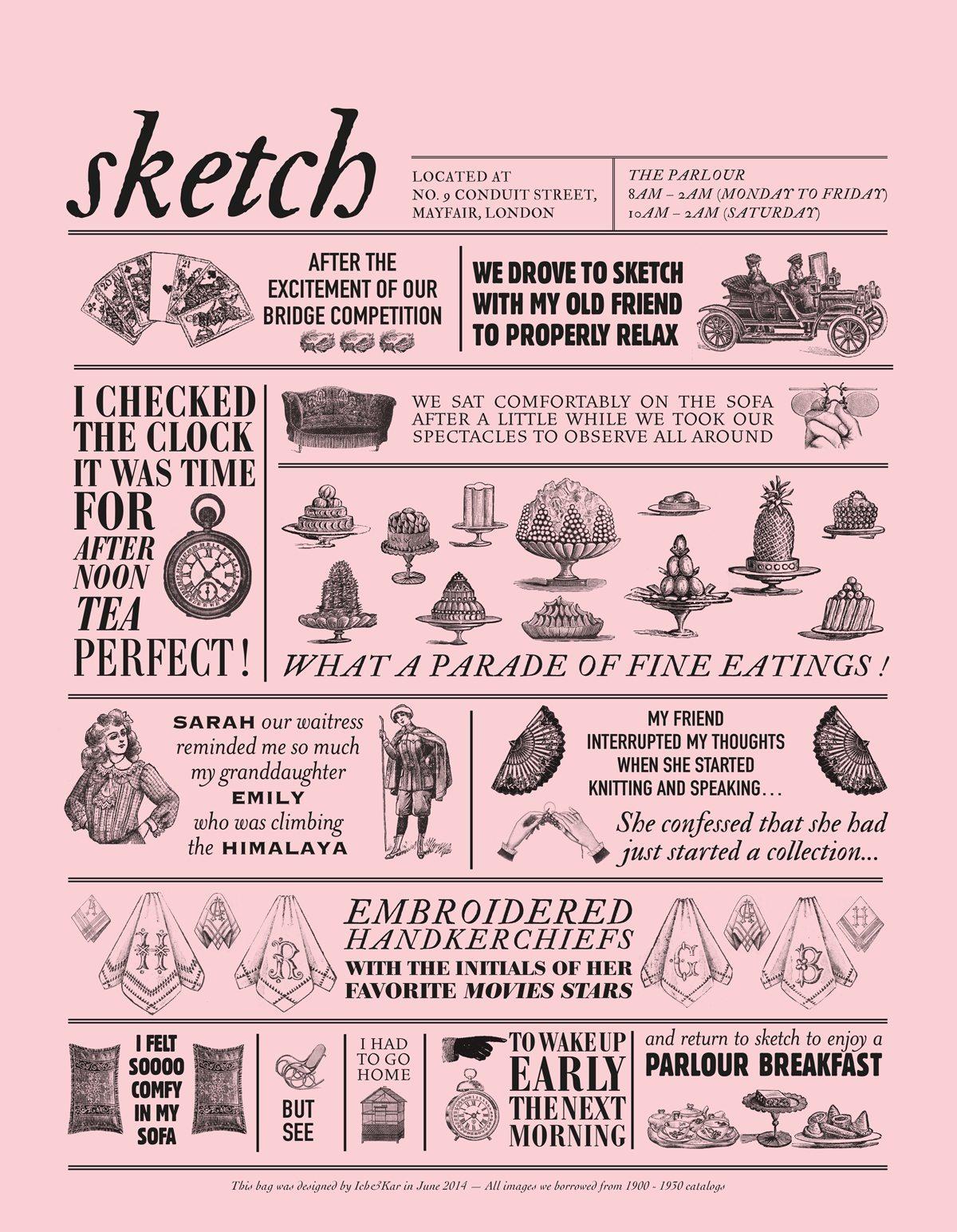 Les histoires illustrées par des gravures pour le sac rose du restaurant Sketch à Londres, design Ich&Kar