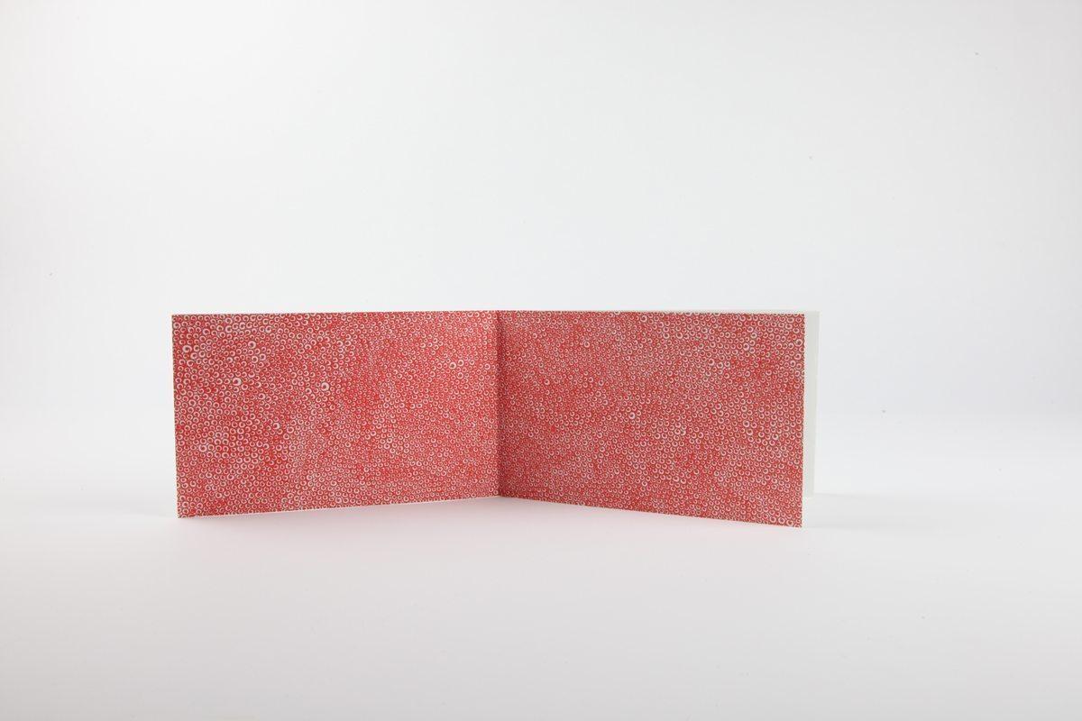 Livre-objet rouge pages de garde de Fred Le Chevalier. Design graphique par Ich&Kar. Editions Echos.