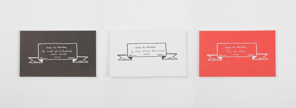 Trilogie, trois petits livres de Fred Le Chevalier, Un livre noir, un blanc et un rouge. Design graphique par Ich&Kar. Editions Echos.