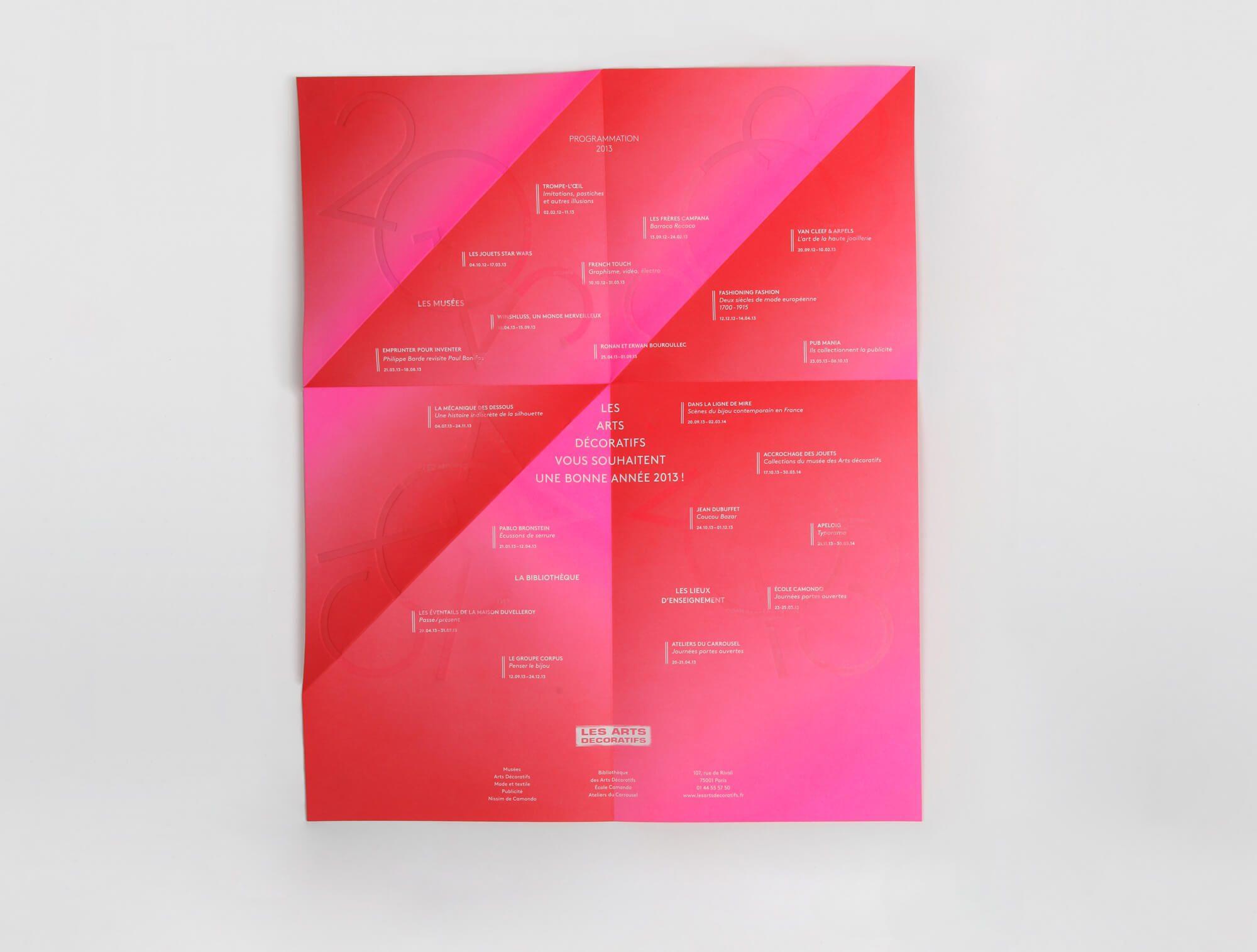 La carte de vœux des arts décoratifs 2013 tout en dégradé rose, rouge, design Helena Ichbiah, IchetKar