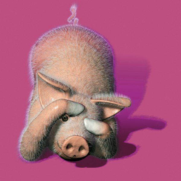 Pour Hollywood Chewing Gum aux fruits, un cochon sur fond rose psychédélique