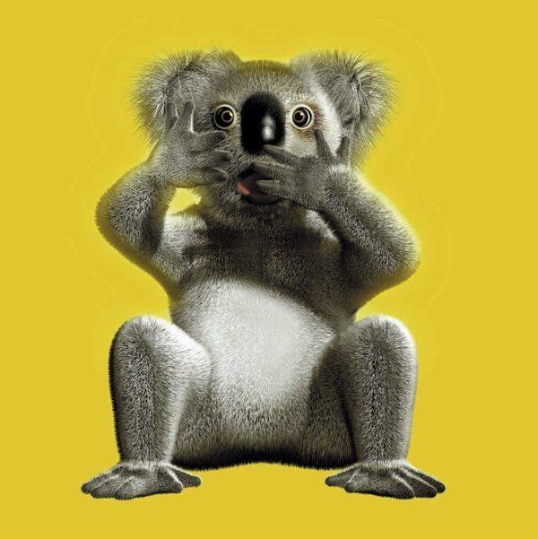 Pour Hollywood Chewing Gum aux fruits, un koala sur fond jaune psychédélique