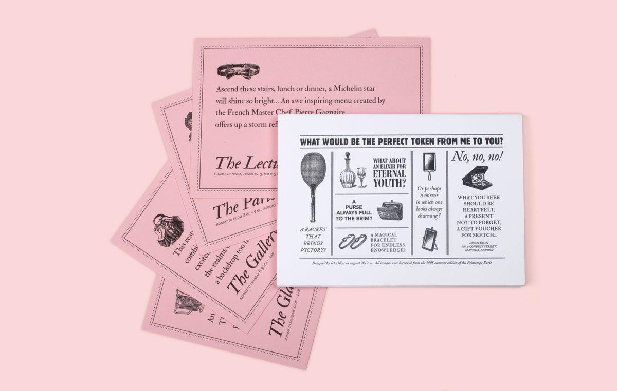 The Wonderfull Sketch' Voucher Box du Restaurant Sketch, Londres, une boite avec carte, badges… dessinée par Ich&Kar pour recevoir en cadeau un diner dans restaurant