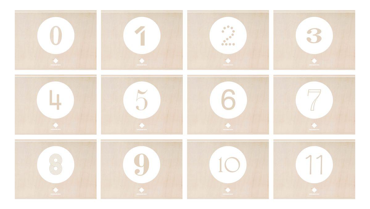 Identité visuelle de DesignerBox, signé Ich&Kar. Ici, les numéro sur les boites en bois.