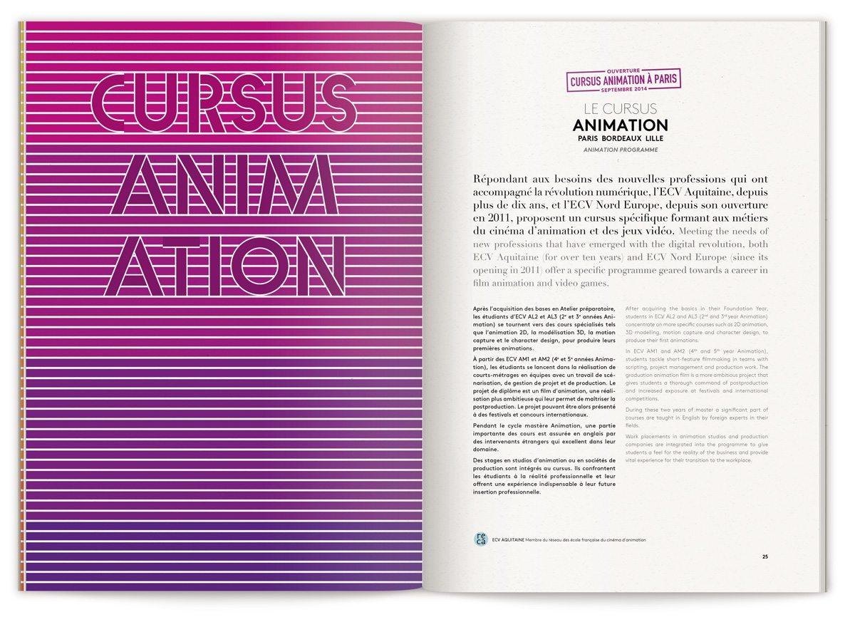 La brochure globale de L'ECV, cursus animation, typographie et couleur violette, design IchetKar