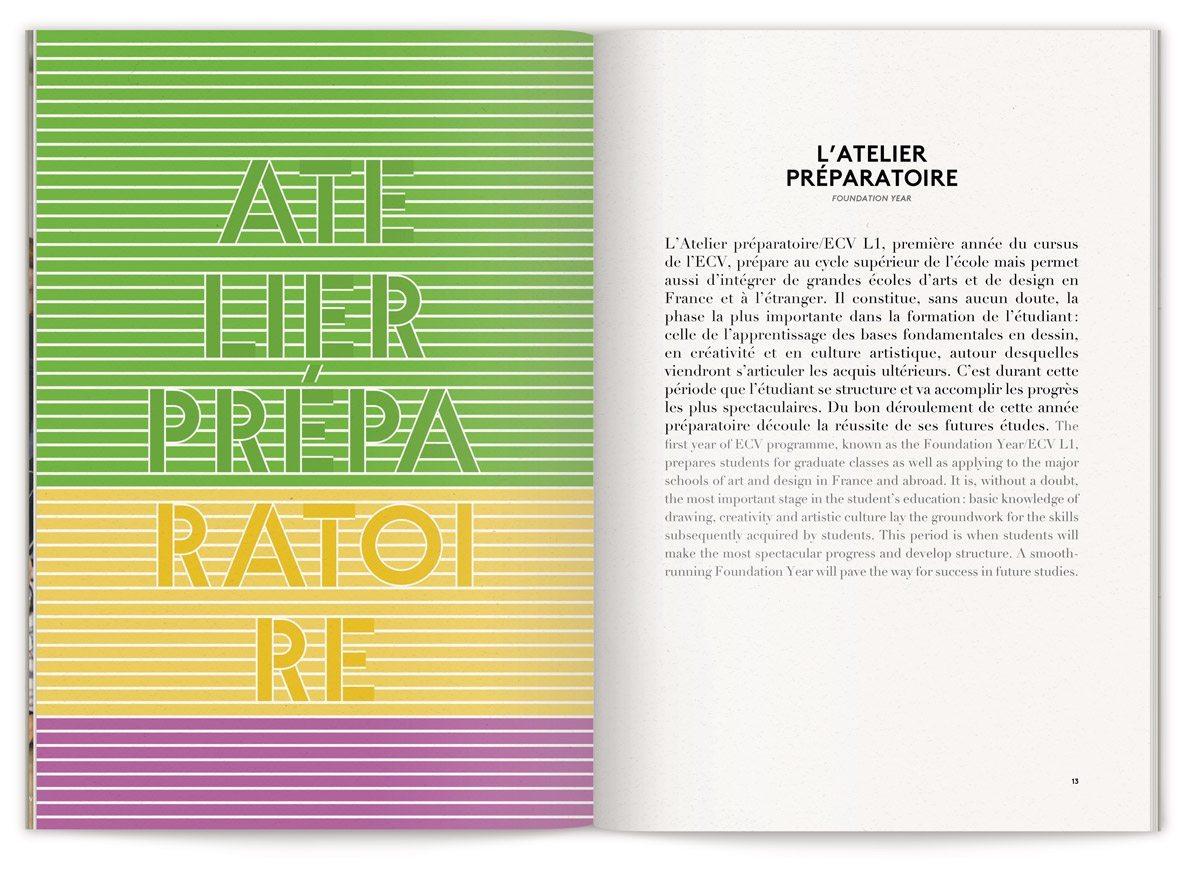 La brochure globale de L'Ecole de Communication Visuelle, cursus atelier préparatoire, typographie et couleur verte, jaune, violette, design IchetKar