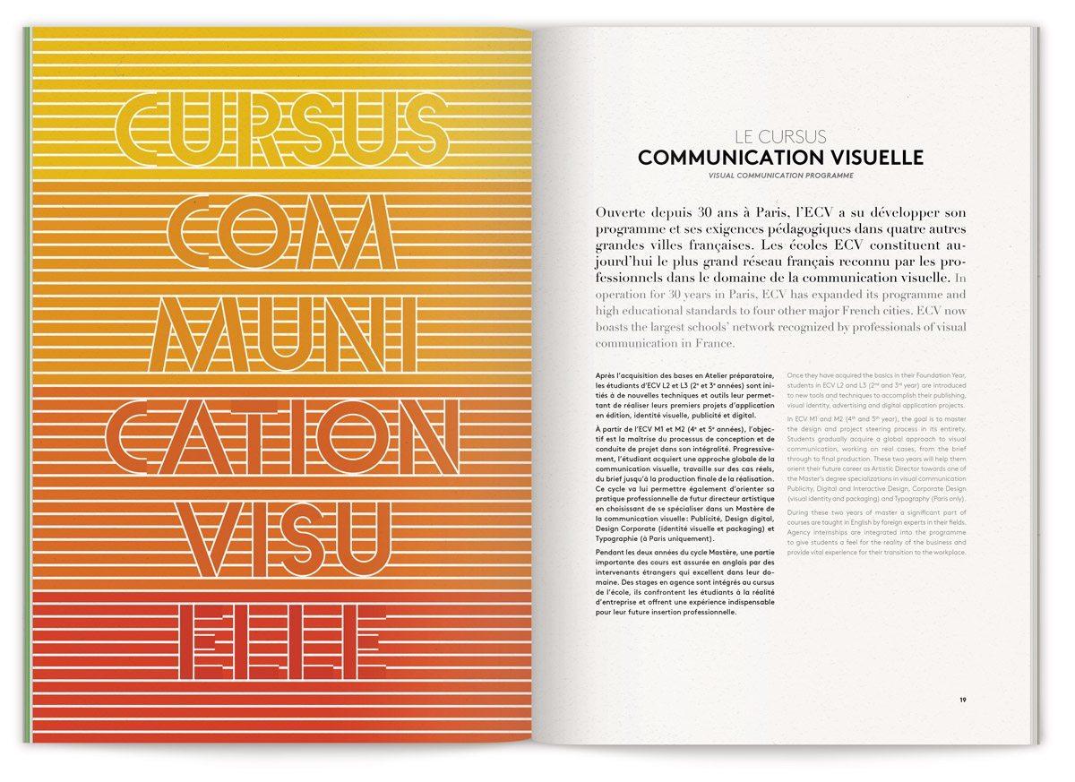 La brochure globale de L'Ecole de Communication Visuelle, cursus communication visuelle, typographie et couleur chaude, design IchetKar
