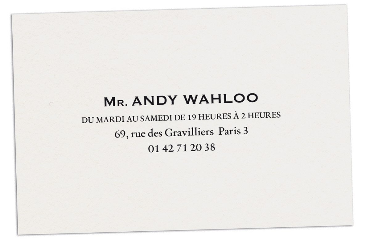 Carte de visite du bar Andy Wahloo, véritable institution parisienne, design Ich&Kar