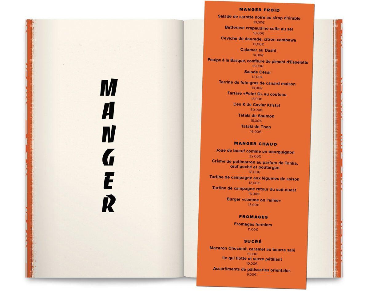 Le livre-menu du bar Andy Wahloo, la page manger du receuil de nouvelle «Le Monde selon Andy Wahloo» mêlant carte des alcools du bar et les tribulations alcoolisées d'Andy Wahloo, design Ich&Kar