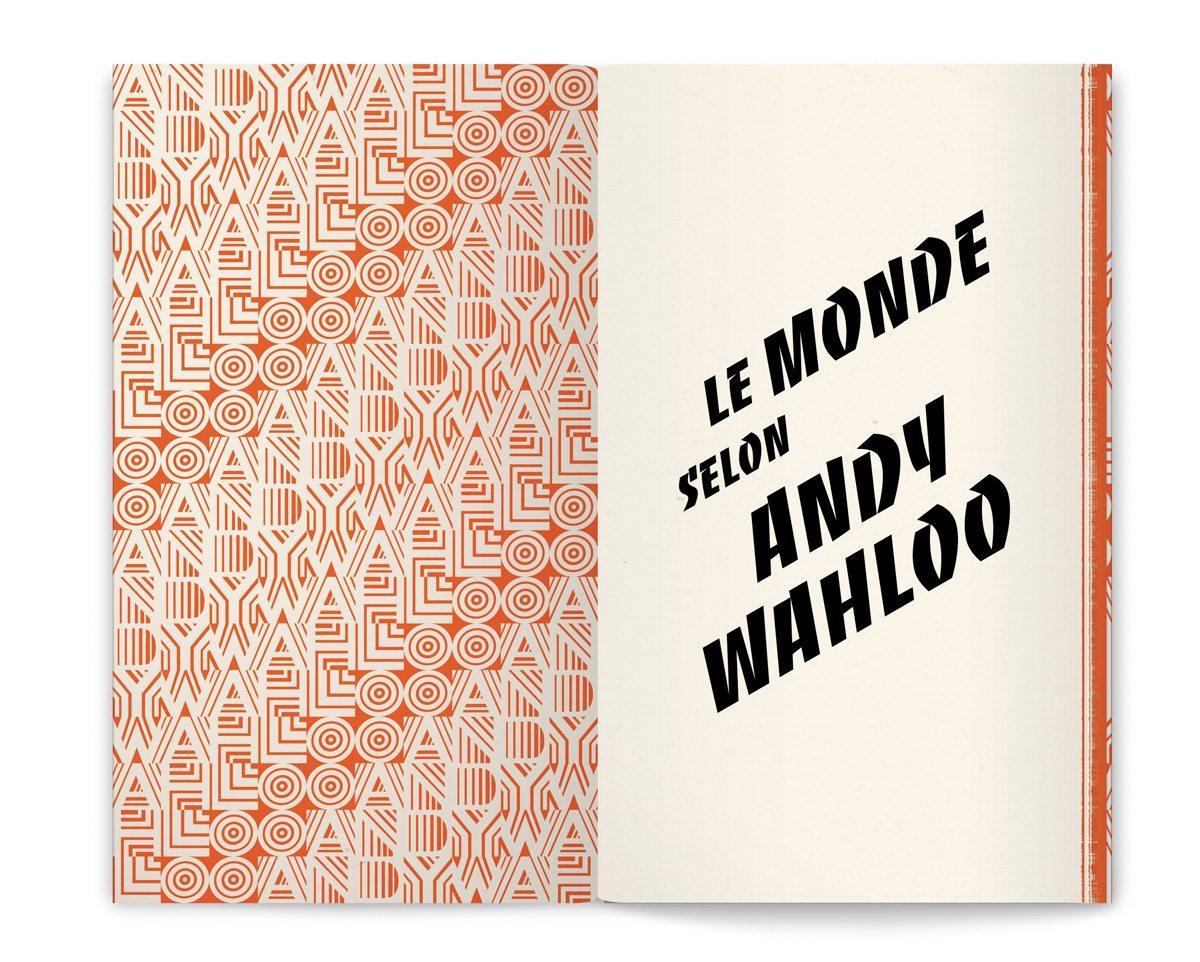 Le livre-menu du bar Andy Wahloo, «Le Monde selon Andy Wahloo» mêlant carte des alcools du bar et les tribulations alcoolisées d'Andy Wahloo, design Ich&Kar
