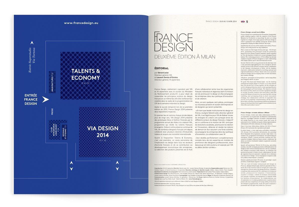 Catalogue France Design 2014 à Milan, plan de l'exposition et édito de la deuxième édition à Milan, design Ich&Kar