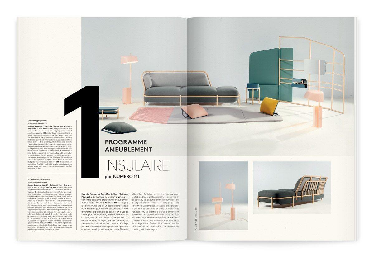 """Catalogue de l'événement France Design 2014 à Milan, signé Ich&Kar, le programme ameublement, """"Insulaire"""" par numéro 111"""