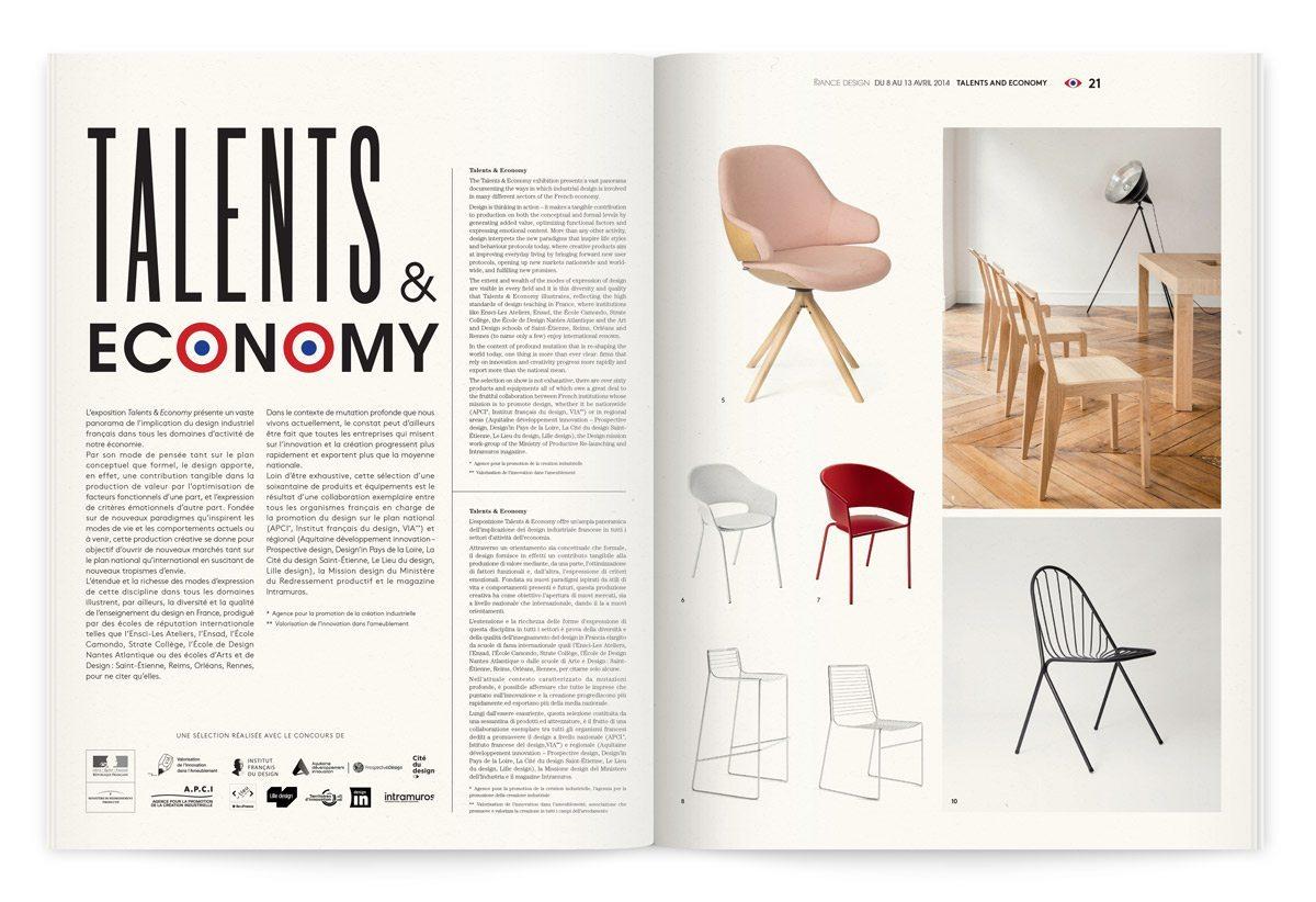 Catalogue de l'événement France Design 2014 à Milan, talents&economy, les nouveaux talents, design Ich&Kar