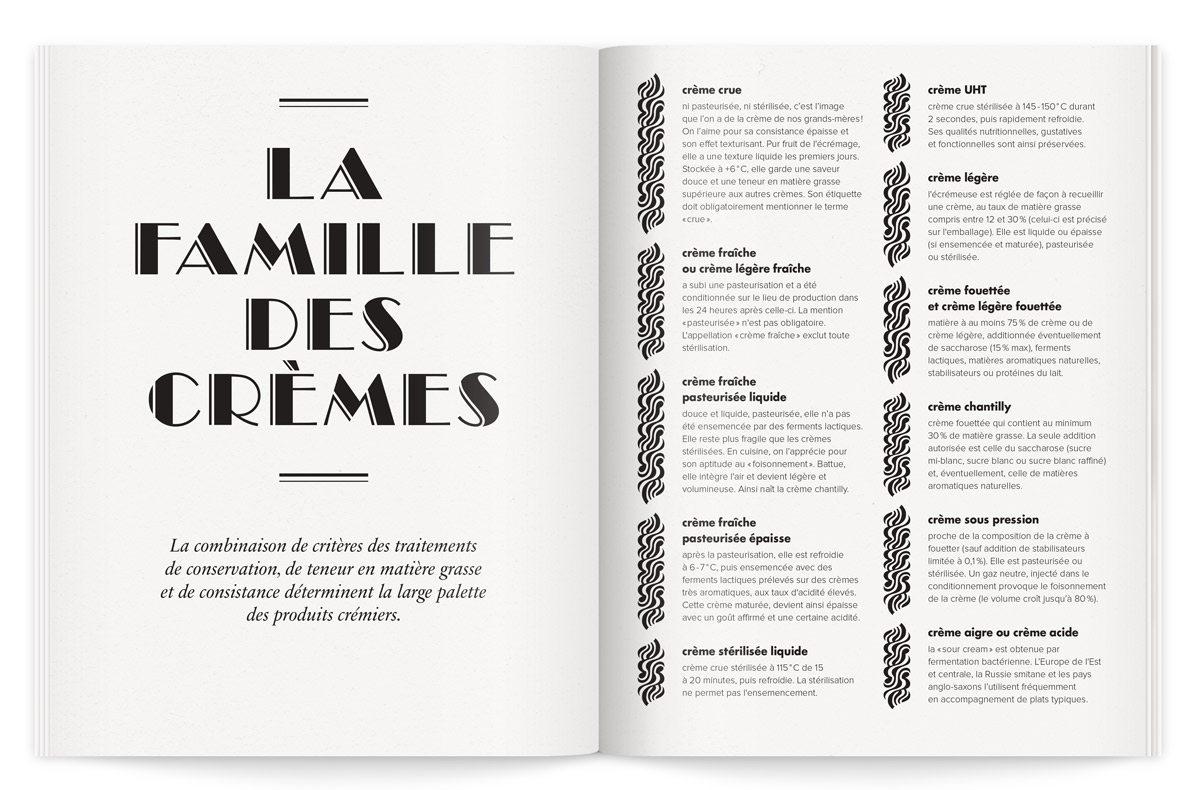 Catalogue La crème de la crème, traduisant l'élégance, l'excellence et le savoir faire à la française, page sur La famille des crèmes, design Ich&Kar