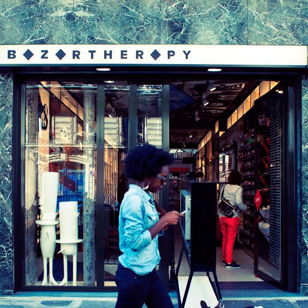 Devanture de la boutique Bazartherapy à Paris, 15 rue Beaurepaire, Paris 10, une identité visuelle d'Ich&Kar.