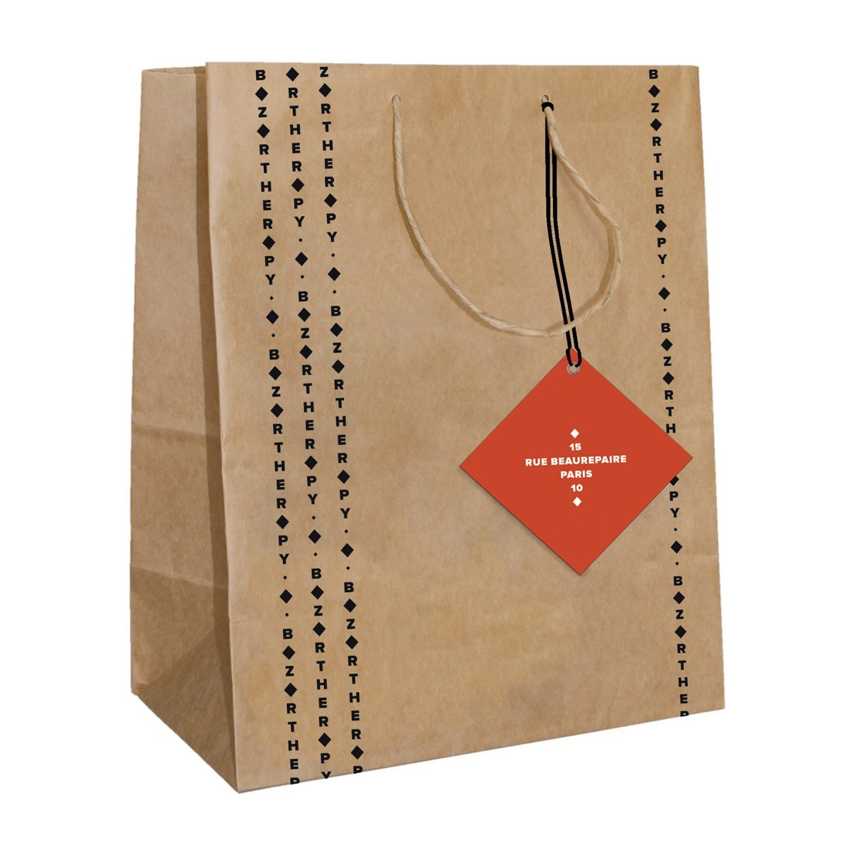 Emballage, sac en papier avec tampon pour l'identité visuelle de la boutique parisienne Bazartherapy. Design Ich&Kar.