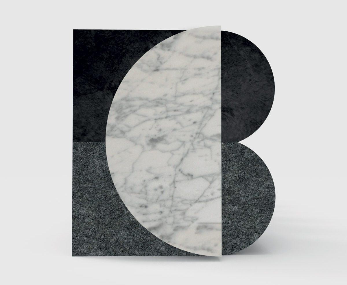 Identité visuelle du marbrier Blanc Carrare, Le blanc pur du marbre et la force noire de la lave, signée Ich&Kar.