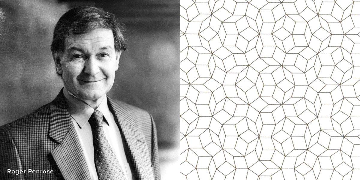 Portrait de Roger Penrose, mathématicien et physicien britannique, qui a découvert le pavage Penrose et une images de motifs de pavages Penrose.