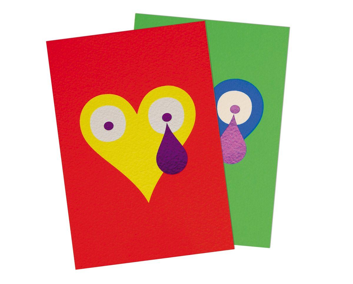 Cartes postales aux motifs Pokerface Cœurs éditées par Ich&Kar.