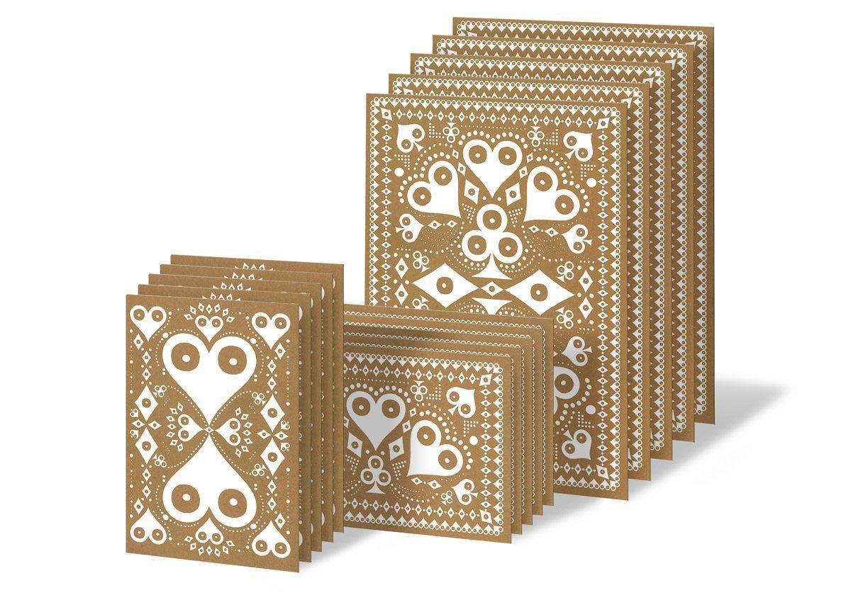 Cartes Danke schön… Cartes de différents formats aux motifs Pokerface Cœur Carreau Trèfle et Pique, blanches et dorées. Créations Ich&Kar.