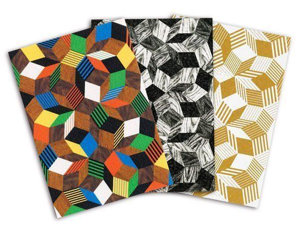 Cartes postales Crazy Wood, Black Wood et Stripes, aux motifs de pavages Penrose édités par Ich&Kar