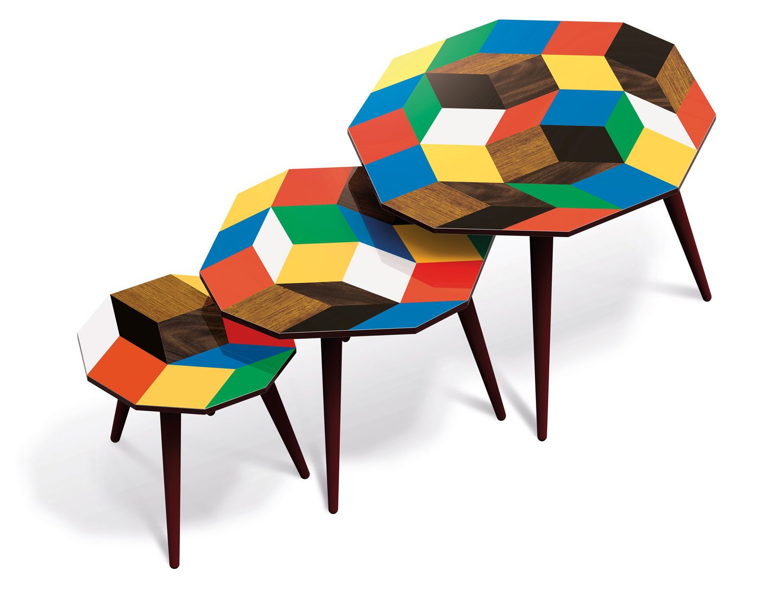 Trio de tables basses aux motifs de pavages de Penrose Playwood, design Ich&Kar, édition Bazartherapy