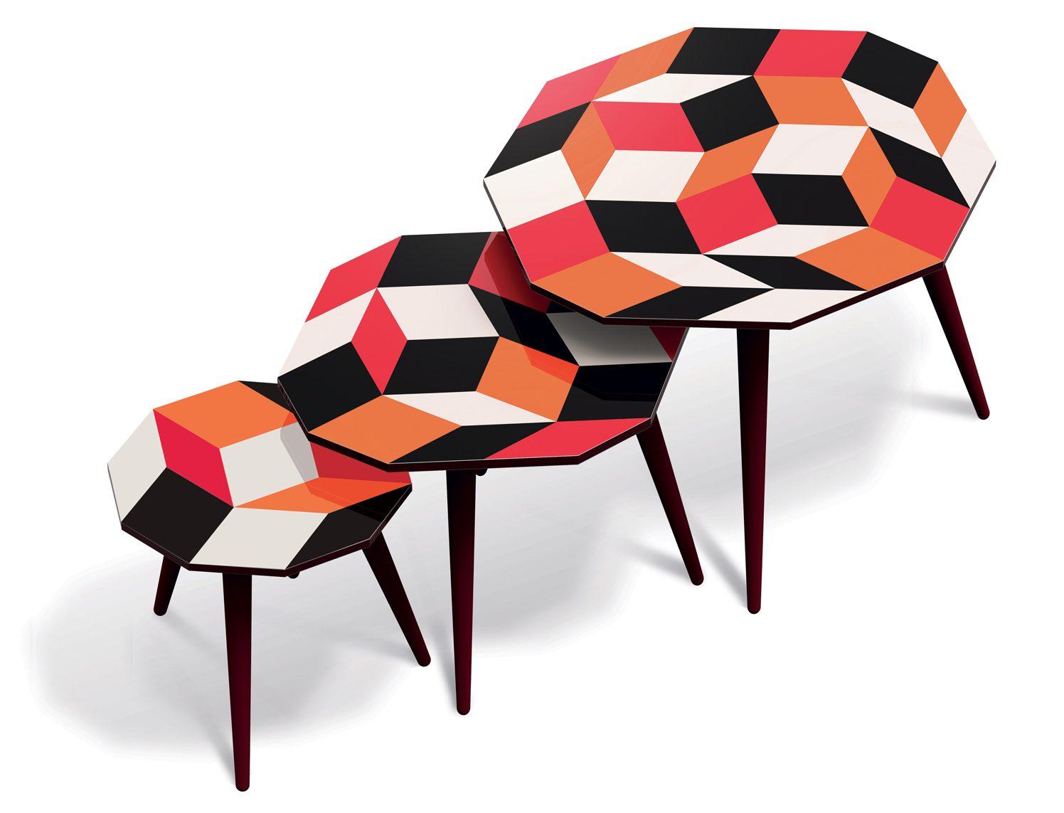 Trio de tables basses aux motifs de pavages de Penrose Pulp, design Ich&Kar, édition Bazartherapy