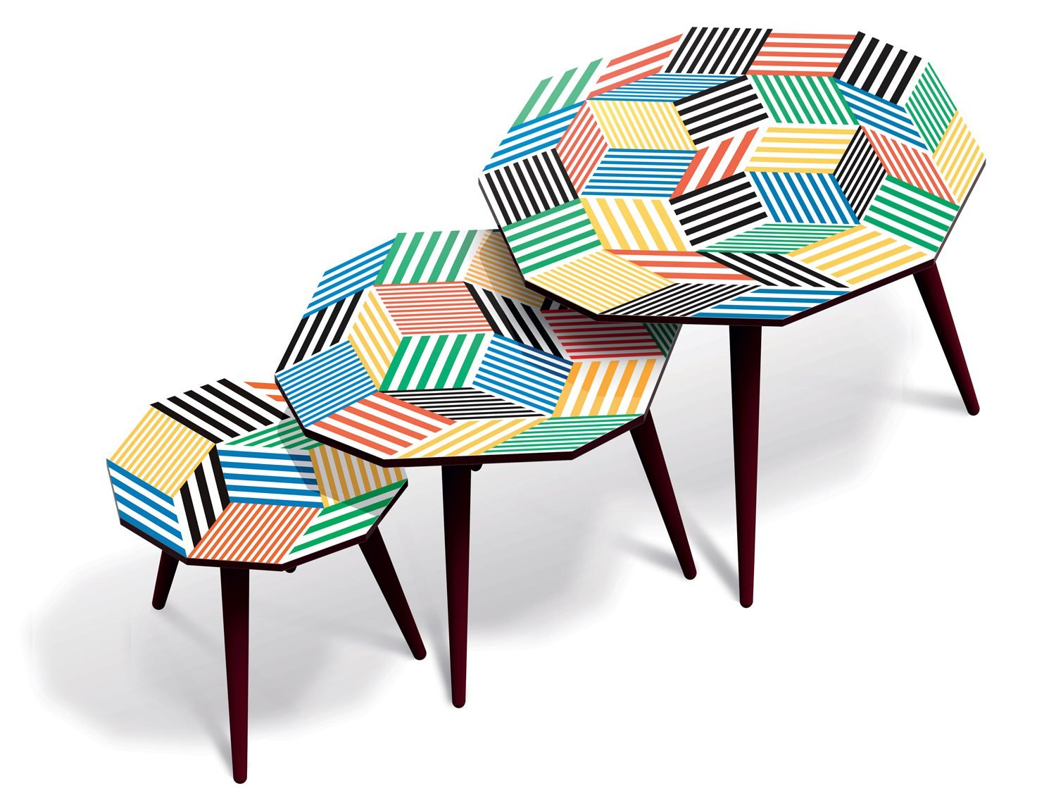 Trio de tables basses aux motifs de pavages de Penrose Stripes, design Ich&Kar, édition Bazartherapy