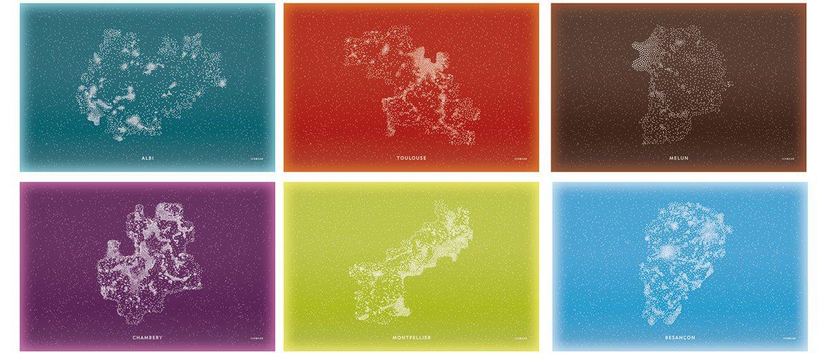 Les panneaux lumineux des différentes région de France pour la tour ERDF, design IchetKar