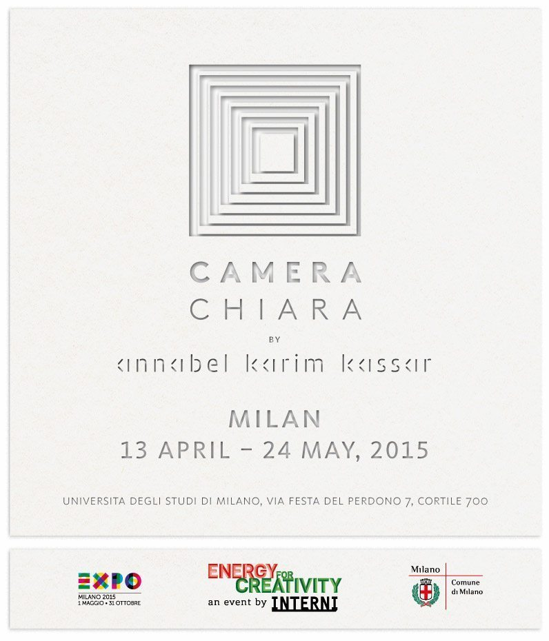 carton d'invitation Camera chiara Milan 2015 , blanc sur blanc, illusion d'optique