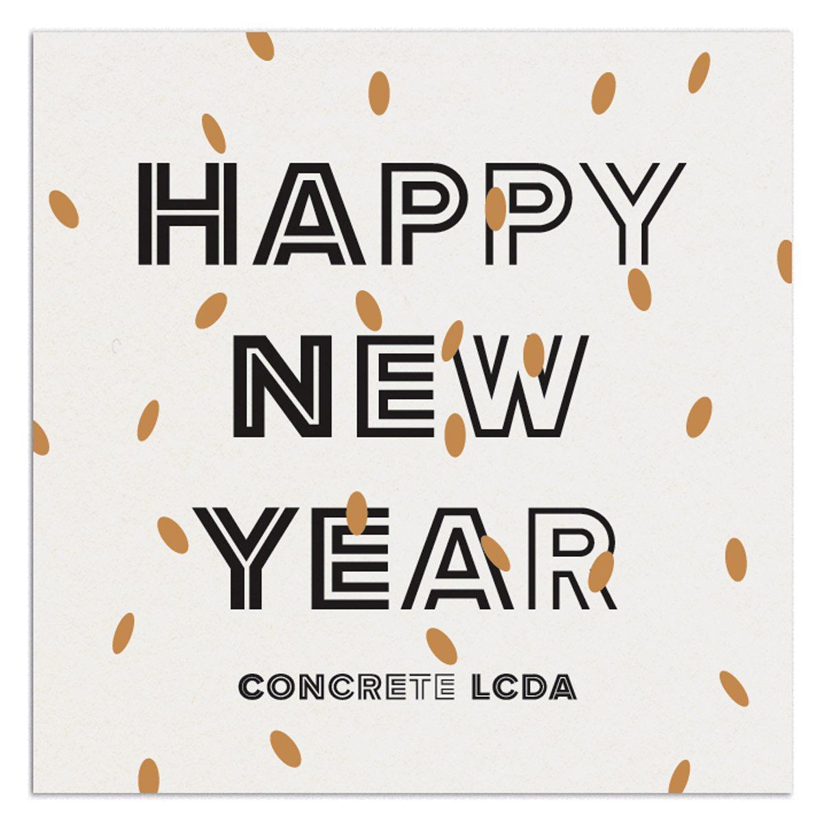 Carte de voeux 2015 de l'entreprise de béton moderne Concrete LCDA par Ich&Kar. Lettrage dont la typographie s'affine lettre à lettre dans le sens de la lecture.