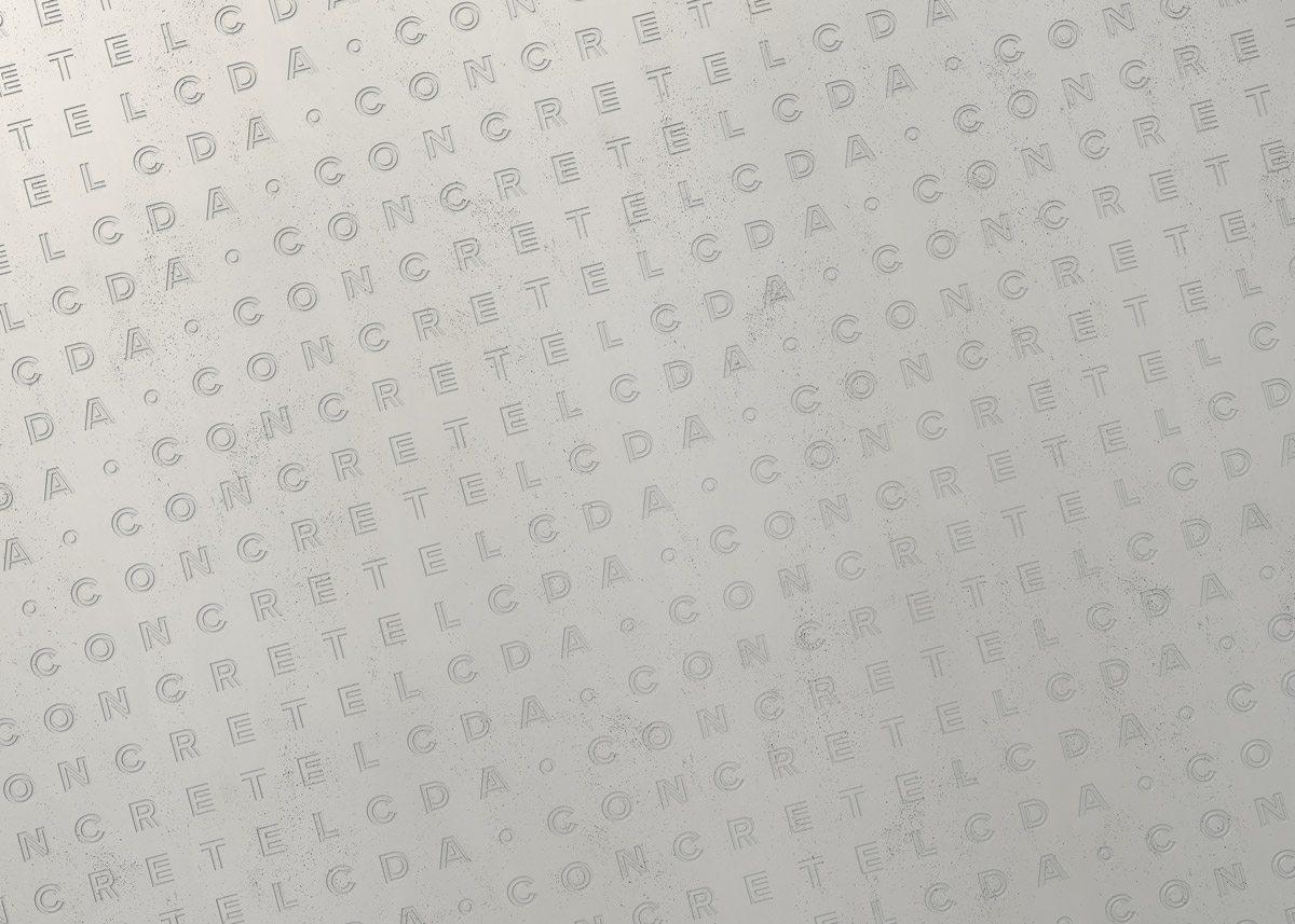 Identité visuelle de Concrete LCDA, entreprise de béton moderne. Lettrage dont le dessin du caractère s'affine lettre à lettre dans le sens de la lecture, design Ich&Kar