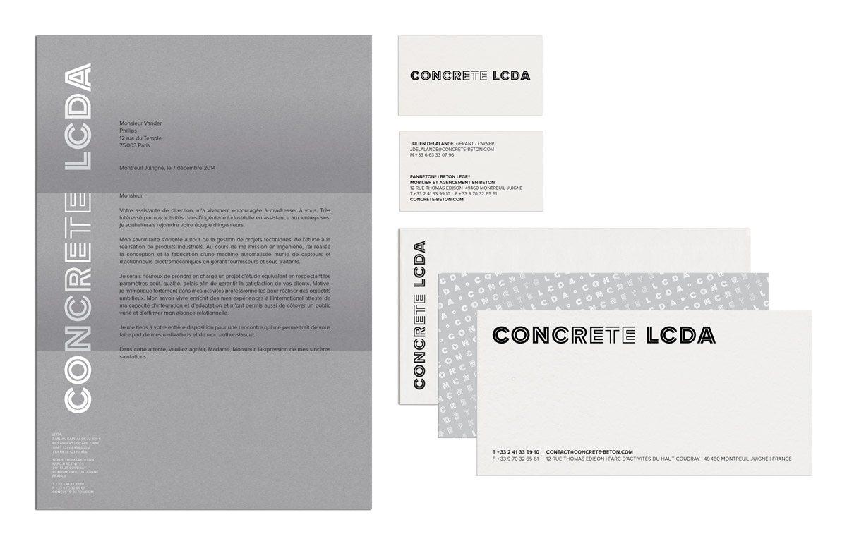 Lettre en-tête et cartes de visites de l'entreprise de béton moderne Concrete LCDA, design Ich&Kar