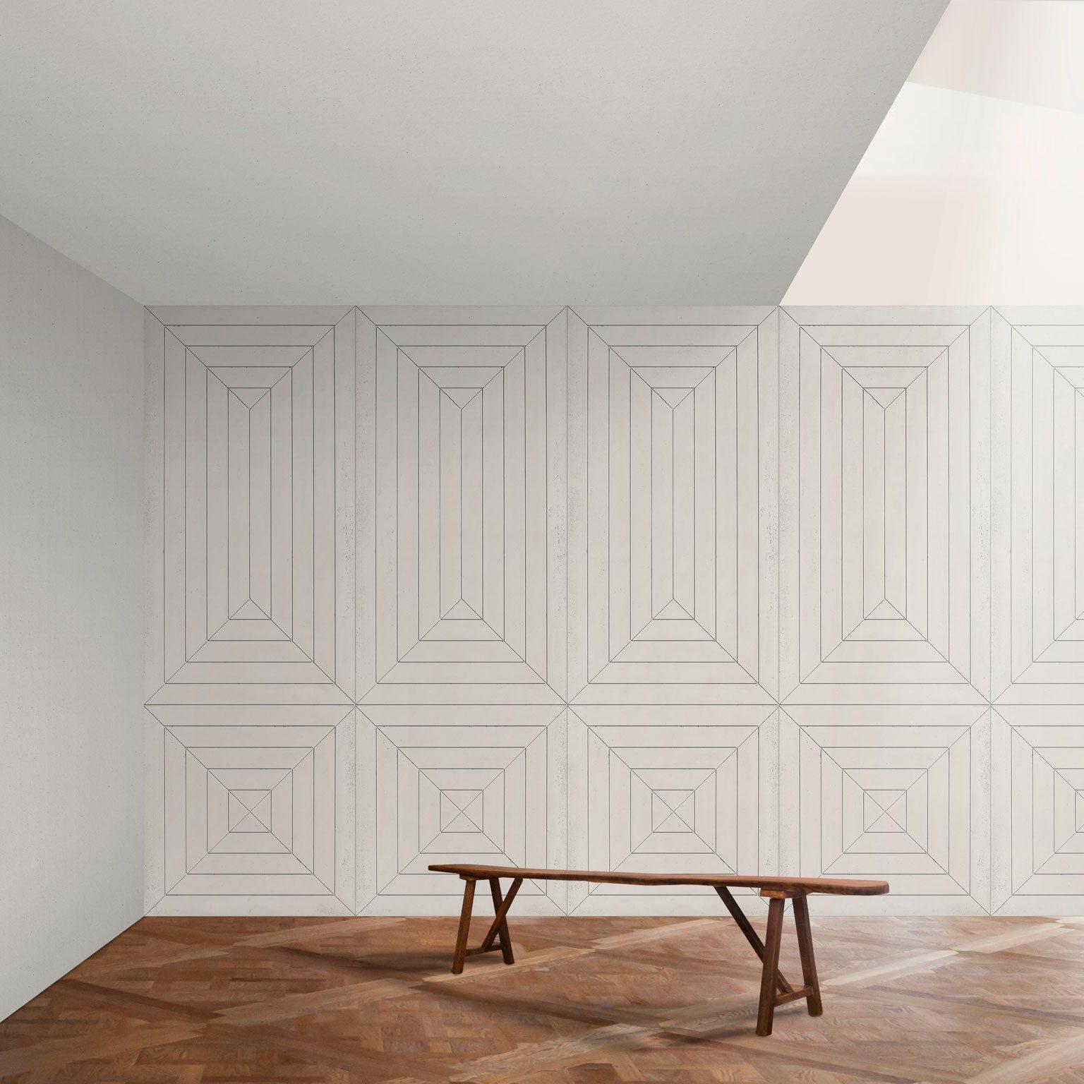 Panbeton, un pan en beton déssiné par Ich&Kar. Moderne, un pan de mur en beton aux traits géométriques et élégants. Un graphisme qui souligne un jeux de perpective, un jeu d'optique, qui crée un vrai lien entre le passé et le contemporain. Création pour la société Concrete LCDA.