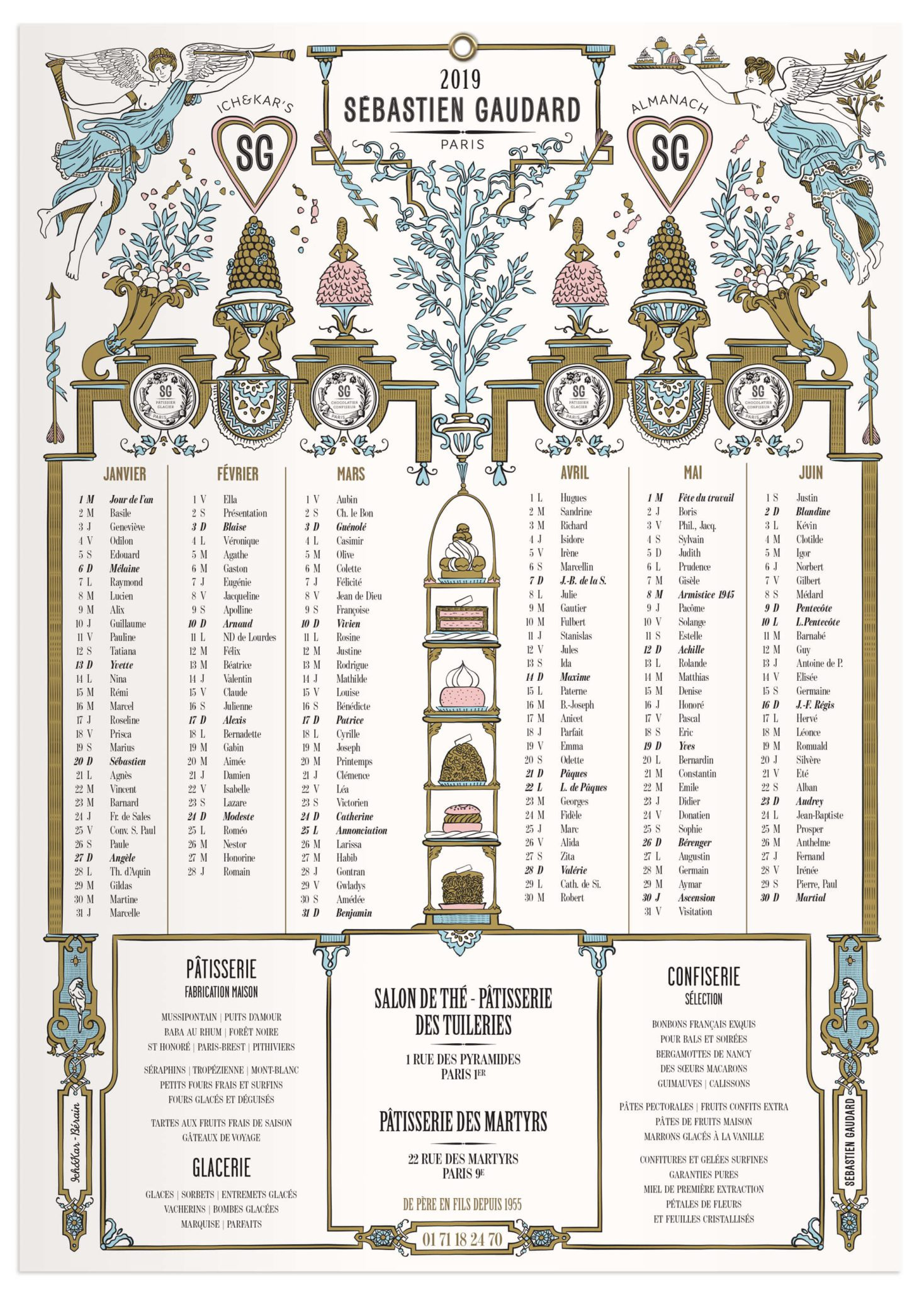 Un almanach 2019 sous le signe de l'amour, illustré par le studio Ich&Kar pour le patissier Sébastien Gaudard