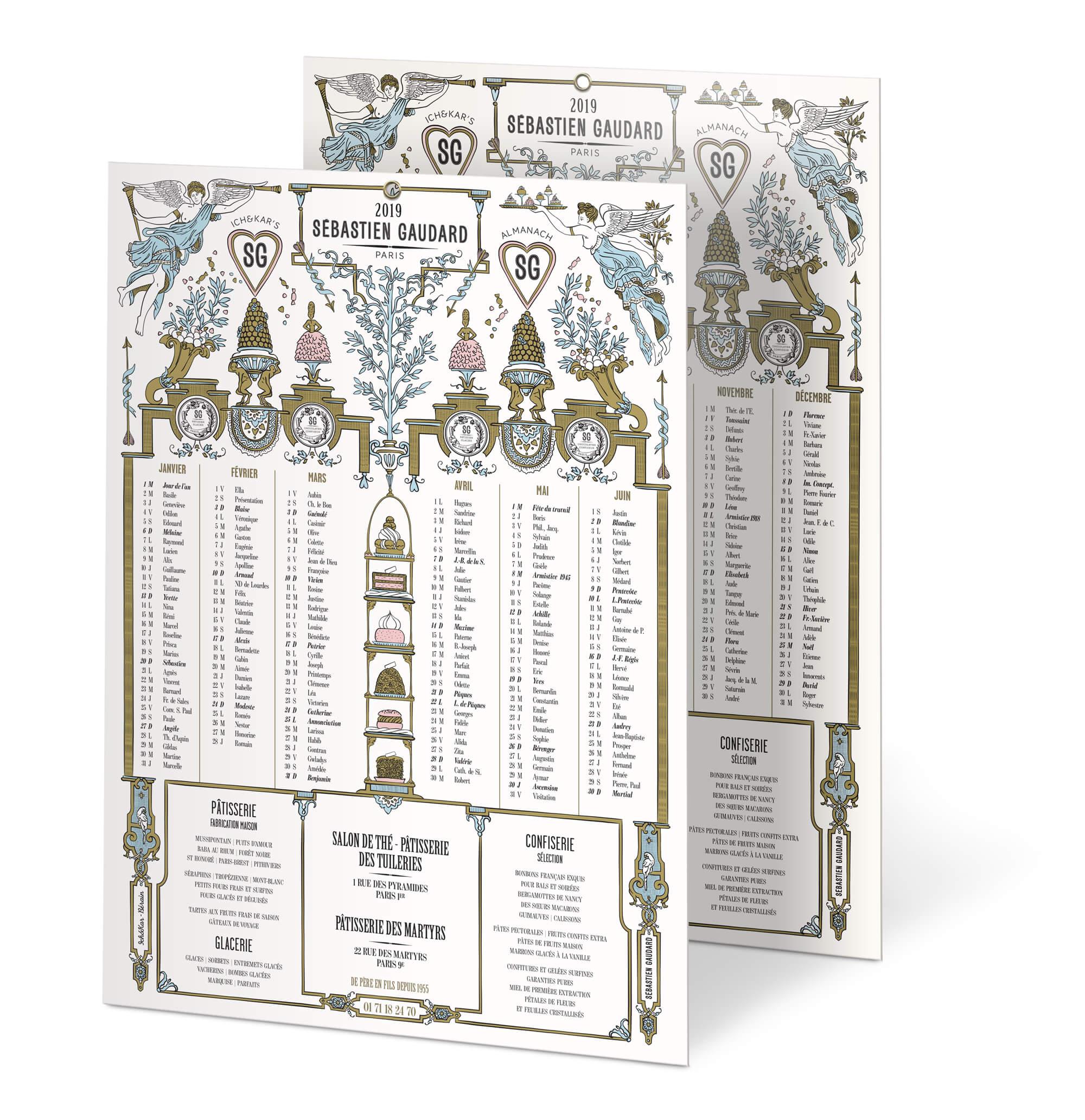 visuel de l'almanach illustré par Ich&Kar dans un style classique 18e siècle inspiré du décorateur Bérain, pour le patissier parisien Sébastien Gaudard