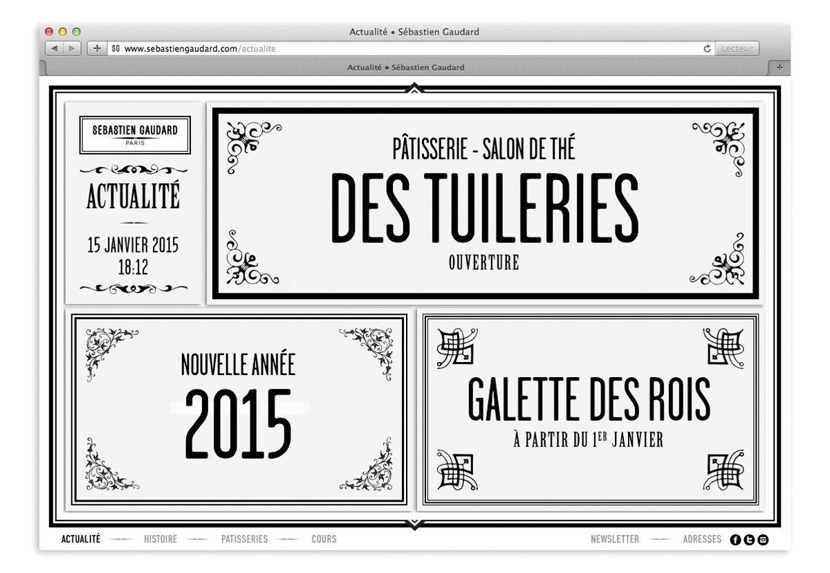 Page actualité du site Sébastien Gaudard, compostion typographique victorienne, graphisme de style 18e et dynamisme hyper contemporain
