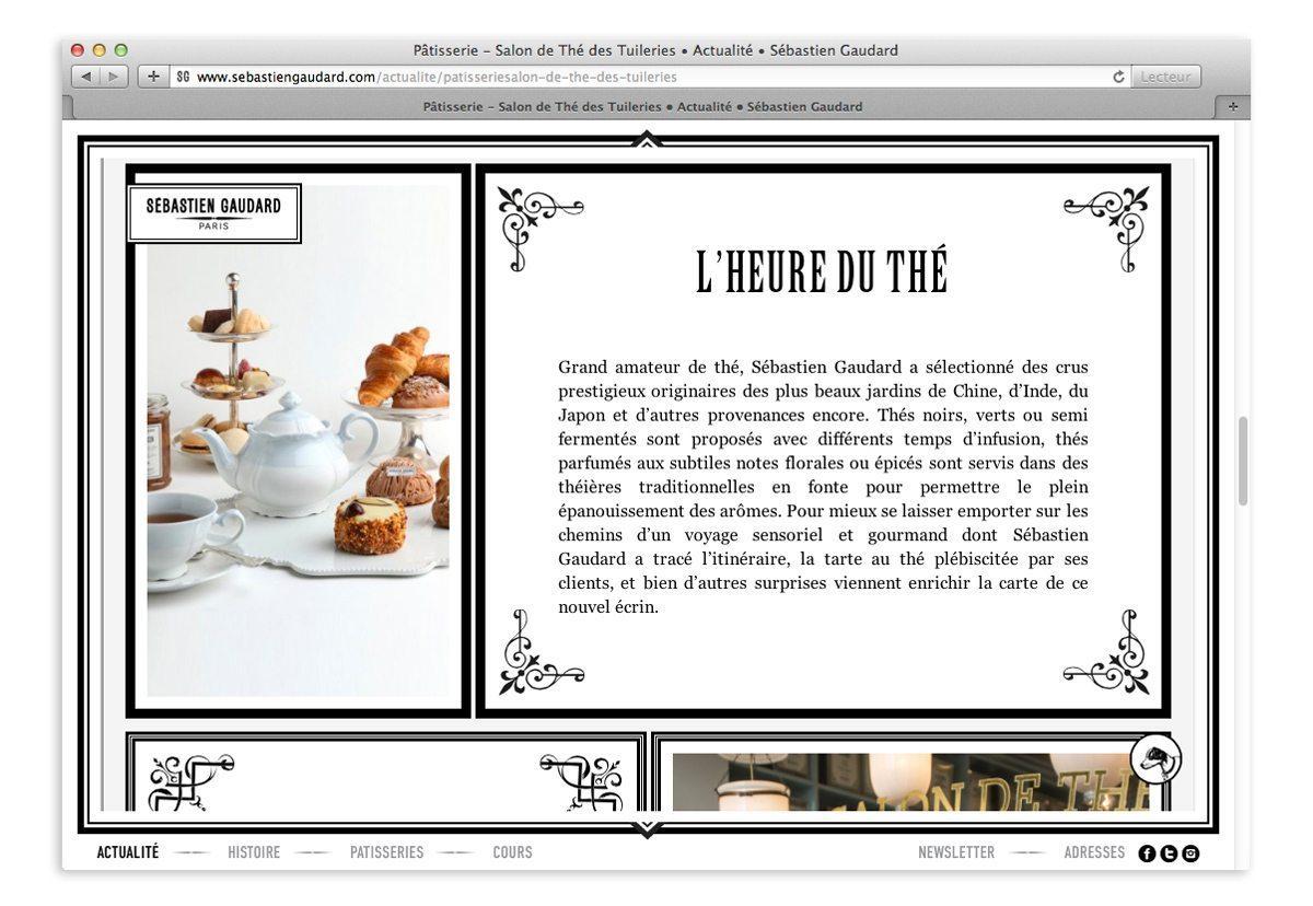 Page actualité du site Sébastien Gaudard, l'heure du thé, composition graphique victorienne et graphisme de style de 18e