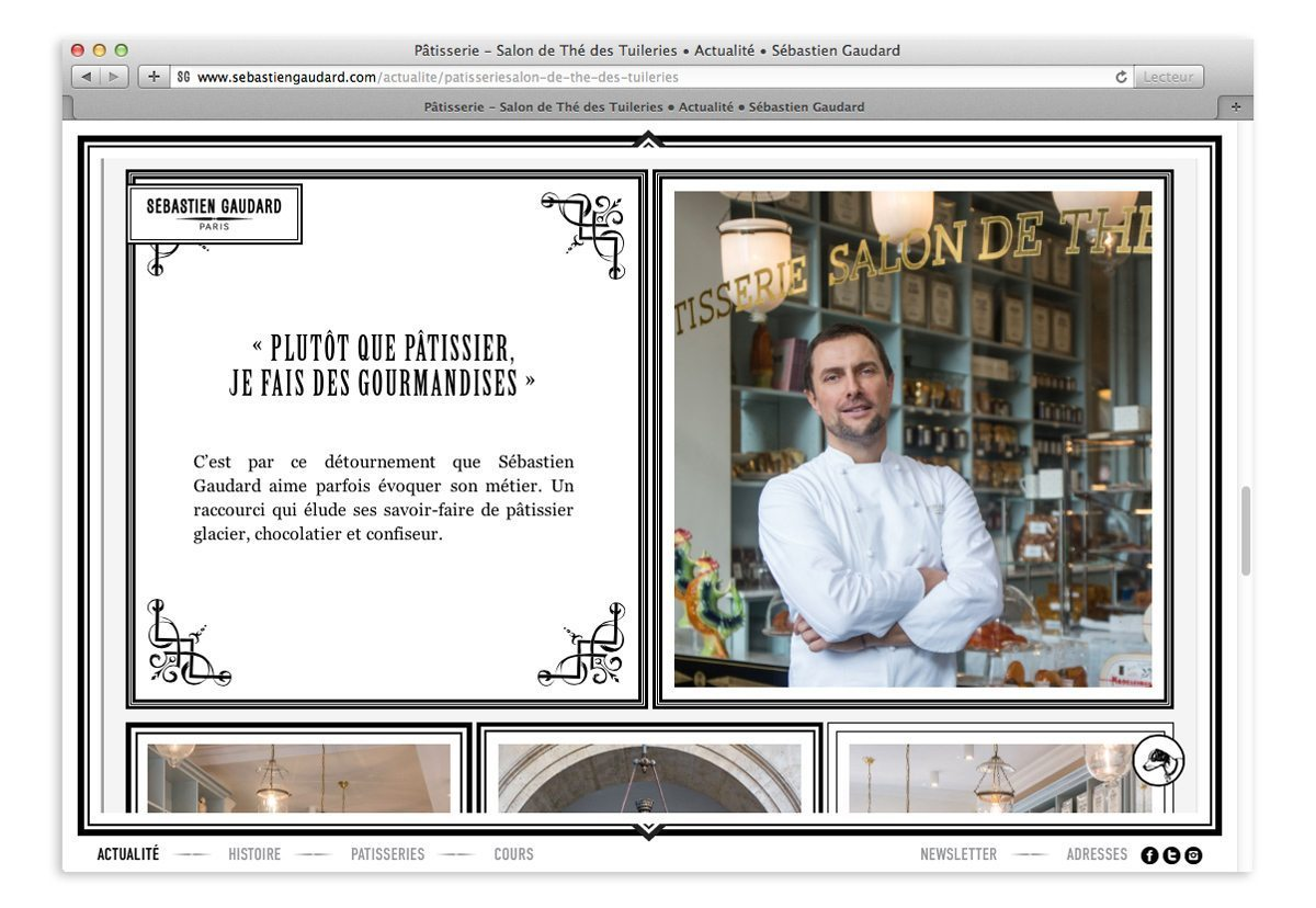 Page actualité du site responsive Sébastien Gaudard, portrait du chef pâtissier