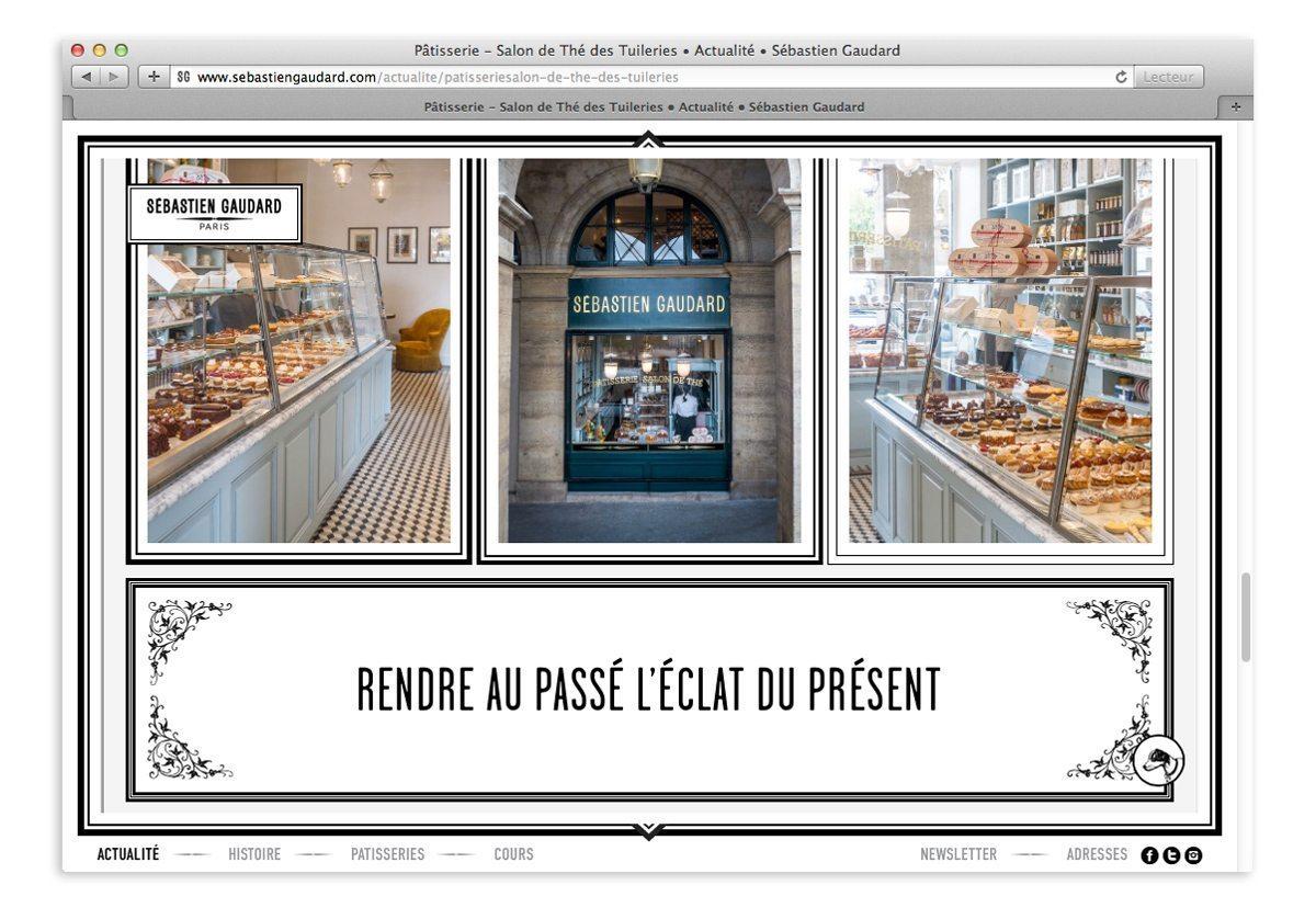 Page actualité du site Sébastien Gaudard, pâtisserie et salon de thé des Tuileries, Paris, rendre au passé l'éclat du présent