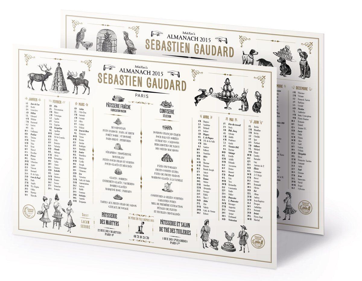 Almanach 2015 du pâtissier Sebastien Gaudard réalisé par Ich et Kar. Illustrations du 18eme siècle de jeunes filles en jupons à l'heure du goûter, lapins et cocottes, patisseries d'antan.