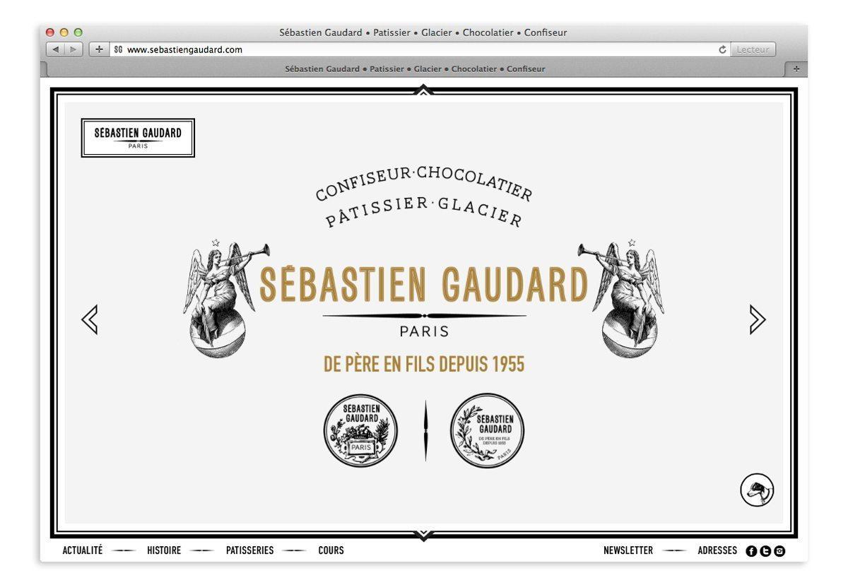 Home du site Sébastien Gaudard, confiseur, chocolatier, pâtissier, glacier, graphisme 18e, ornement, médailles et anges, design Ich&Kar