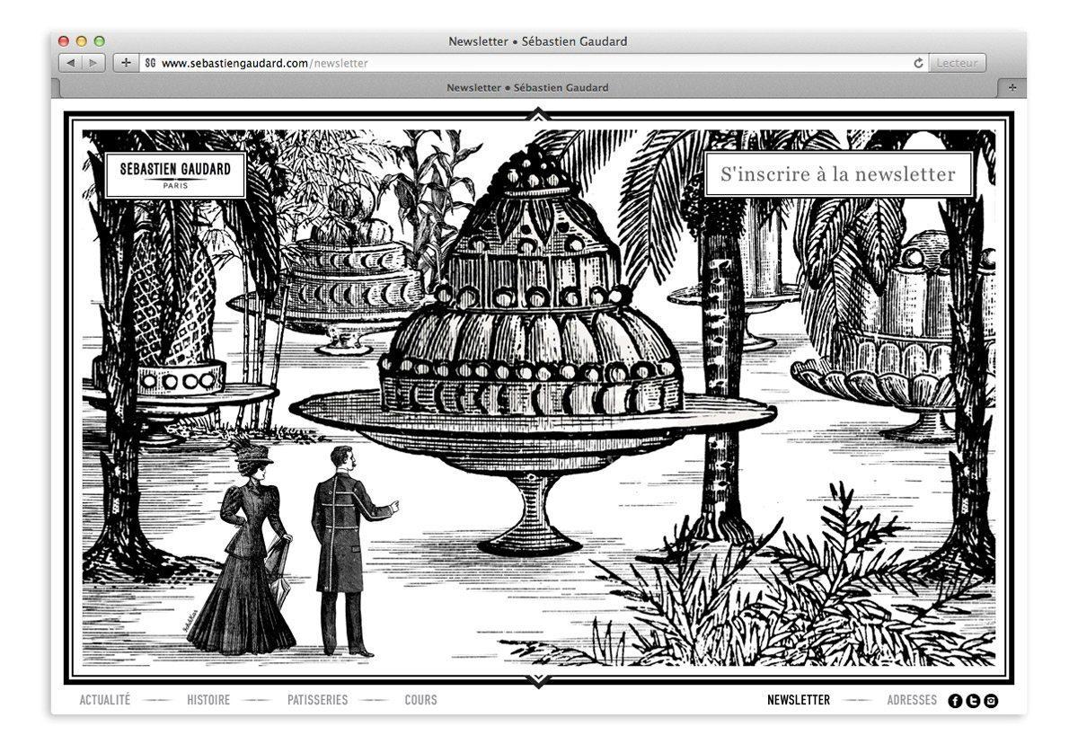 illustration surréaliste, collage, gravure, gâteaux et palmier, ambiance alice au pays des merveilles pour la newsletter du pâtissier Sébastien Gaudard, design Ich&Kar