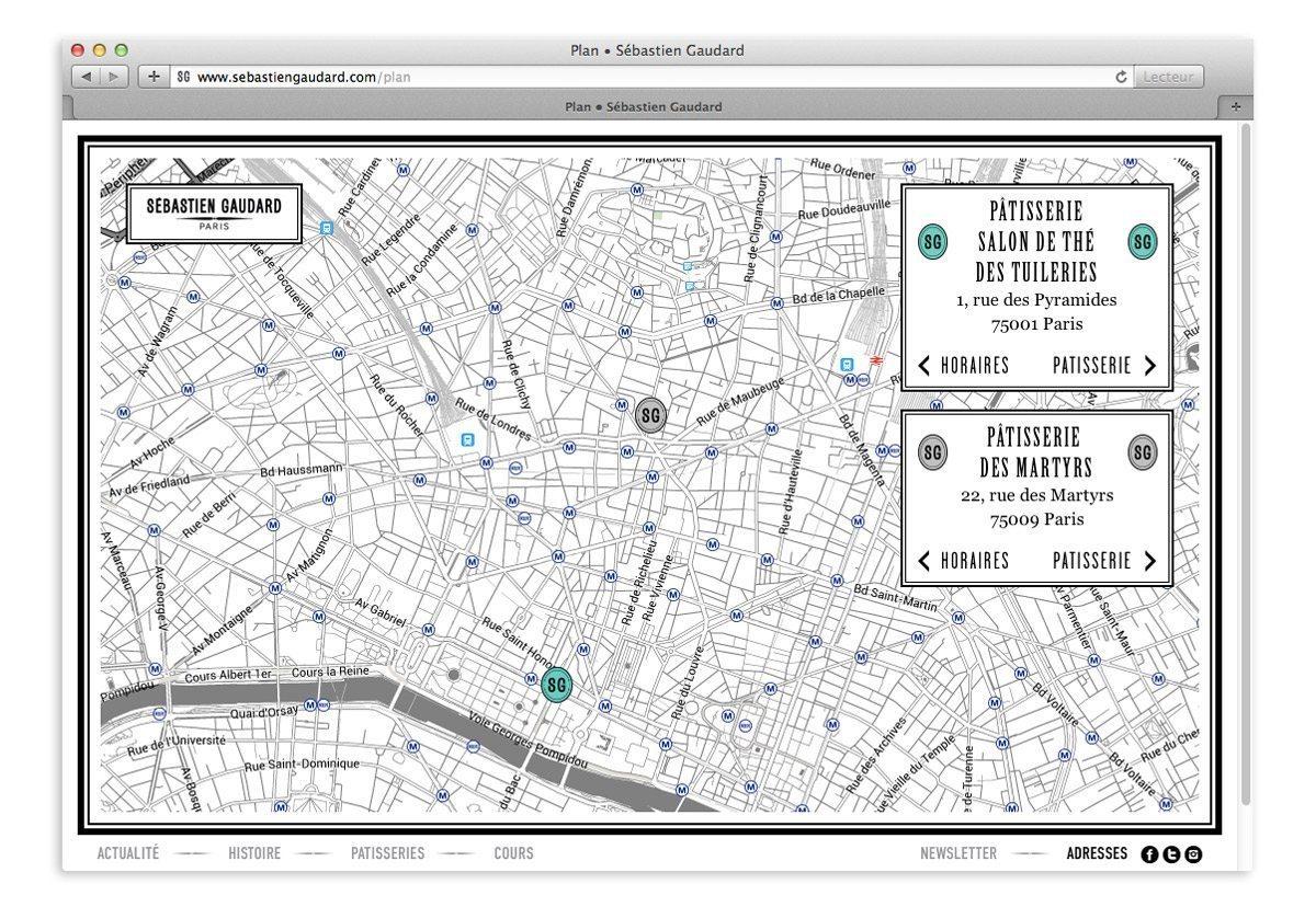 Plan de Paris graphique sur le site responsive de Sébastien Gaudard
