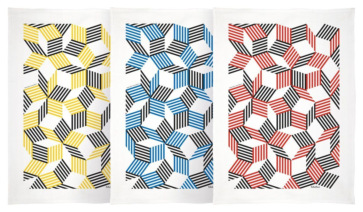 Torchons Penrose Stripes jaune, bleu et rouge, aux motifs géométriques, dessinés par Ich&Kar, édition Bazartherapy.