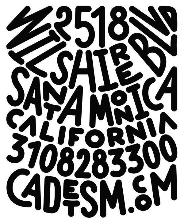Carte de visite du restaurant Cadet à Santa Monica. Black and white wild rock business card. Design Ich&kar