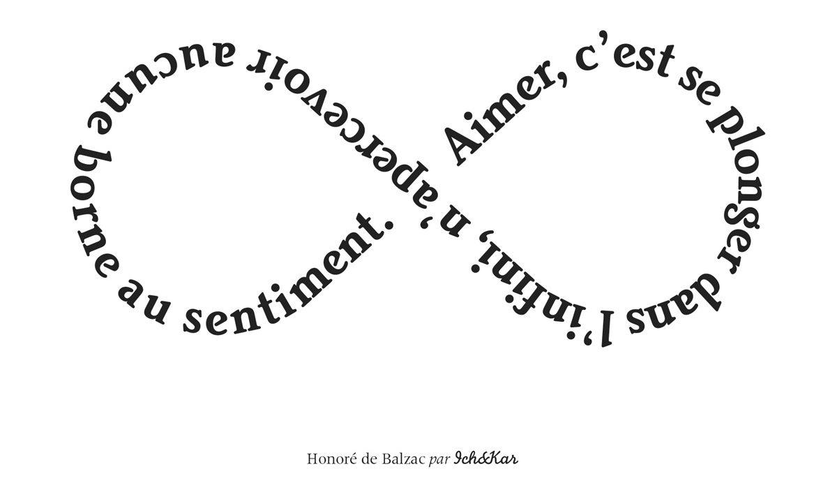 """Carte infini, """"Aimer, c'est se plonger dans l'infini, n'apercevoir aucune borne au sentiment"""", de Balzac écrite comme le Ruban de Moebuis, Designerbox 21, Ich&Kar"""