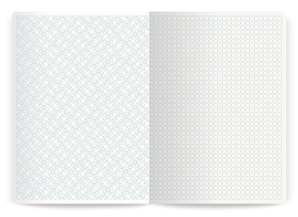 Intérieures d'un carnet d'Annabel Karim Kassar. Pages gauche et droite au motifs différent, design Ich&Kar