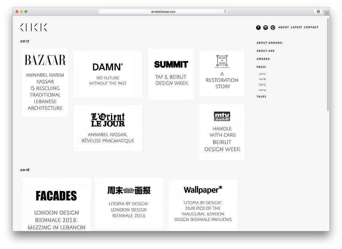 La page presse du site dAnnabel Karim Kassar, les titres des journaux sont mis en avant et classés par date., design IchetKar